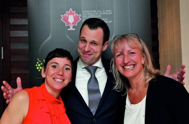 Trois des quatre vainqueurs canadiens du concours du Meilleur Sommelier des Amériques: Elyse Lambert, Pier-Alexis Soulière et Véronique Rivest.