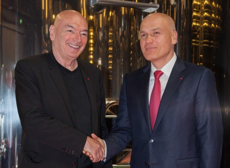 L'architecte Jean Nouvel et le propriétaire, Andrei Filatov.