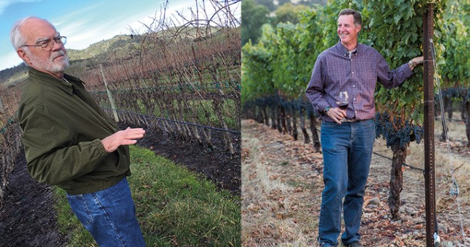Earl Jones of Abacela at his experimental plot and Scott of Kriselle Cellars in the vineswinery