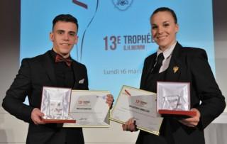 Les Vainqueurs du Trophée Mumm: Agathe Karvaix en Sommellerie et Valentin Lefevre en mention Barman.